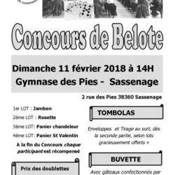 Concours de belote 11 février 2018 à Sassenage