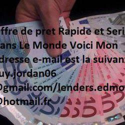 Offre de prêt Entre Particulier : guy.jordan06@gmail.com/ lenders.edm