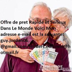 Offre de prêt entre personnes sérieux : guy.jordan06@gmail.com/ lend