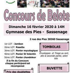 Concours de belote 16 février 2020 Sassenage